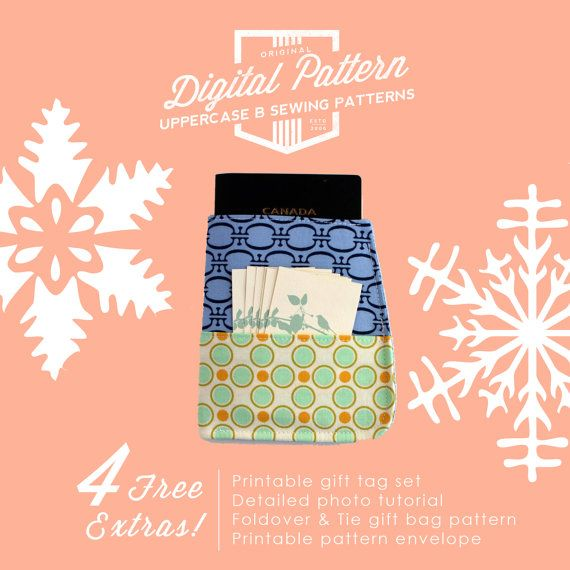 PDF Instant Download - Sewing Pattern - Passport Sleeve / Case with Wrap Around Pocket - Instant Digital Download!  Plus 4 Free Extras! Everything you