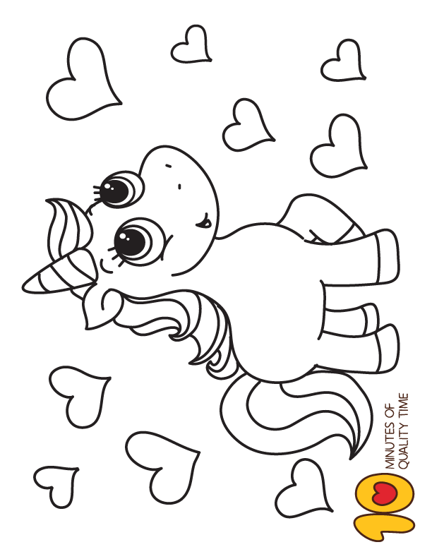 Unicorn And Hearts Coloring Page Heart Coloring Pages Unicorn Coloring Pages Valentine Coloring Pages