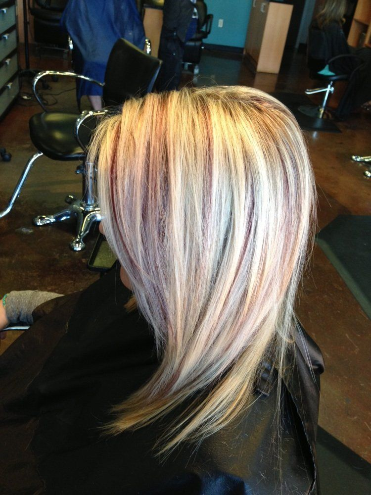 Blonde highlights with burgundy lowlights done by Karli ...