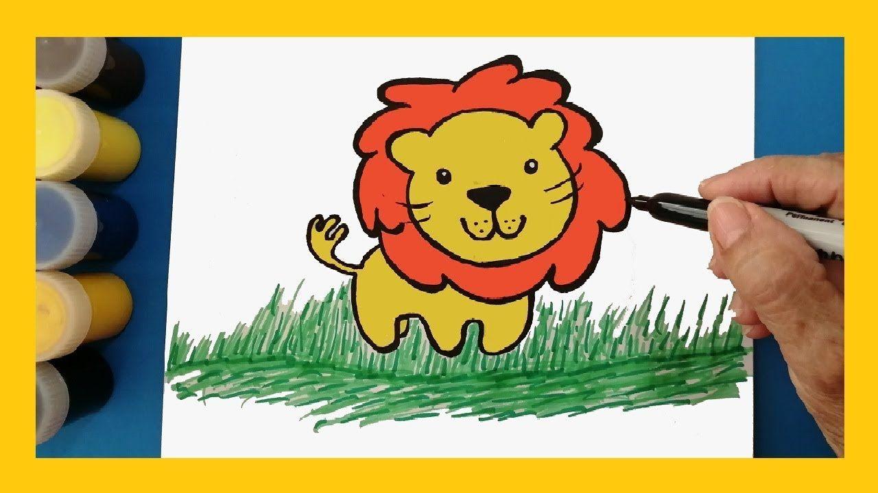 Como Dibujar Y Colorear Un Leon Para Ninos How To Draw Color Lion For Kids Dibujos De Colores Como Dibujar Ninos