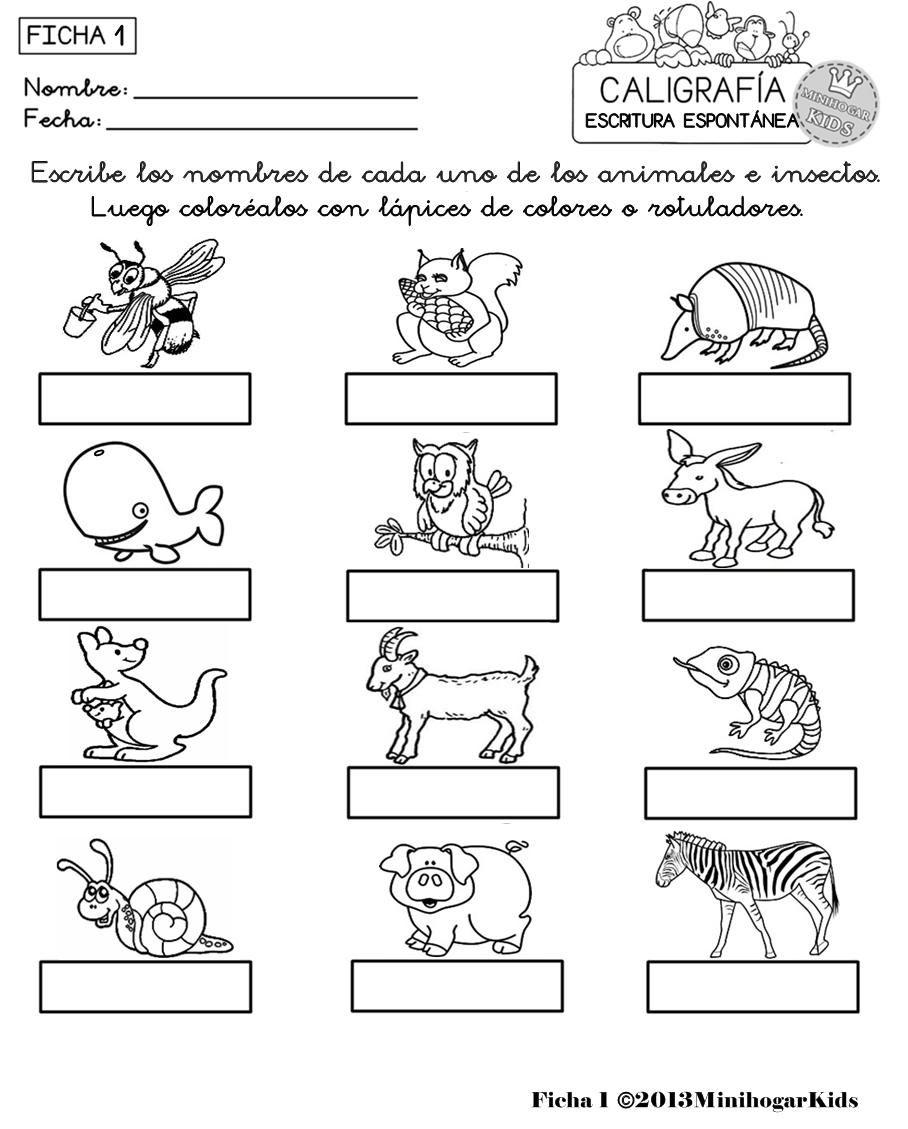 Fichas 1 234 Y 5 De Caligrafía Espontánea Con Dibujos De Animales
