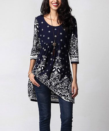 7846e56e Another great find on #zulily! Navy Suzani Empire-Waist Tunic Dress ...