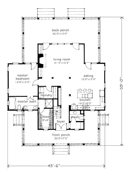 House Plan Of The Month Four Gables Gable House Southern Living House Plans House Floor Plans