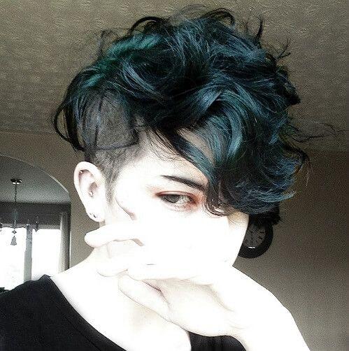 dark turquoise curly pixie cut hair pinterest hair