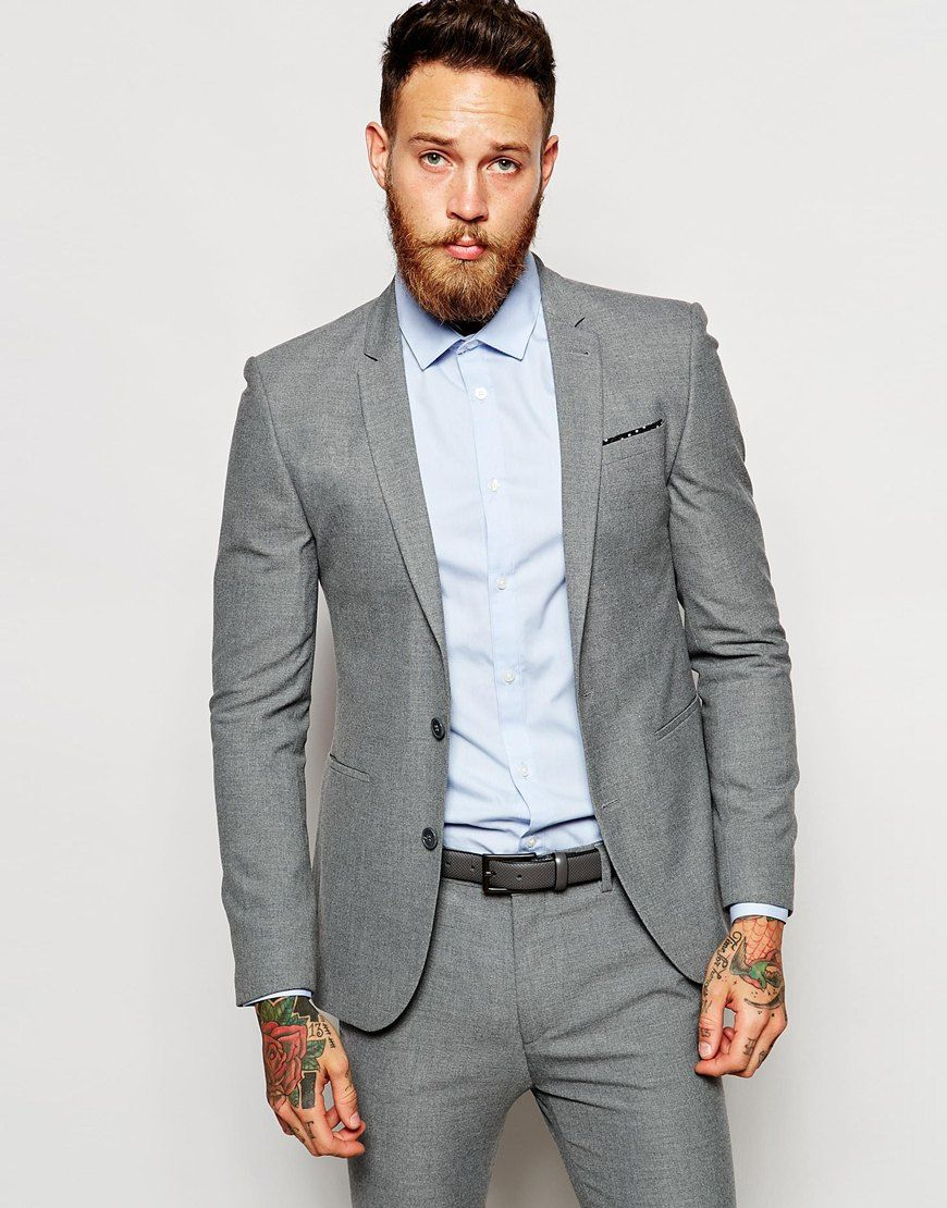 Image 1 of ASOS Wedding Super Skinny Suit Jacket In Grey | style ...