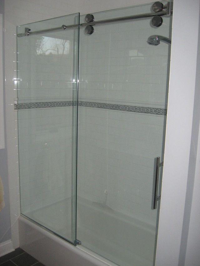 Bottom Trackless Tub Glass Door Project Basement Bath