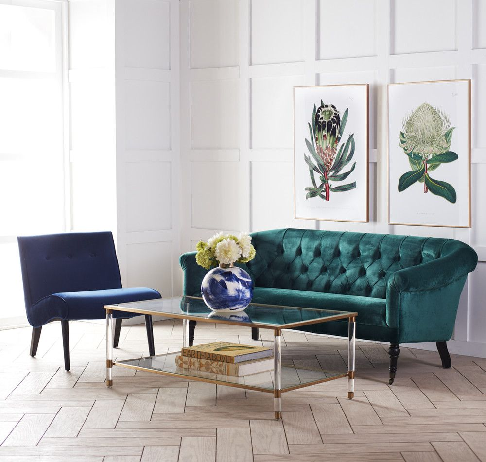 Acrylic glass and brass coffee table wisteria green