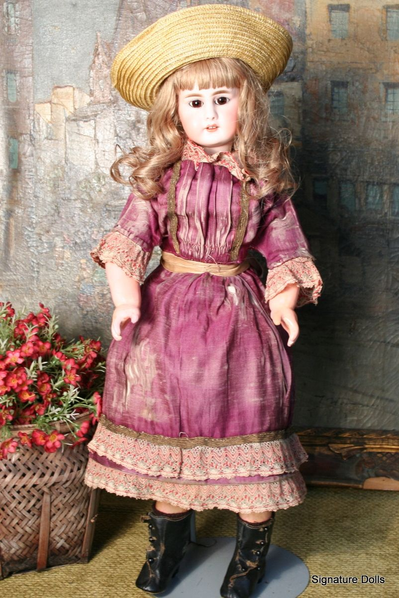 "21"" Simon Halbig 939 on Early Kid Body~Great Antique Dress"
