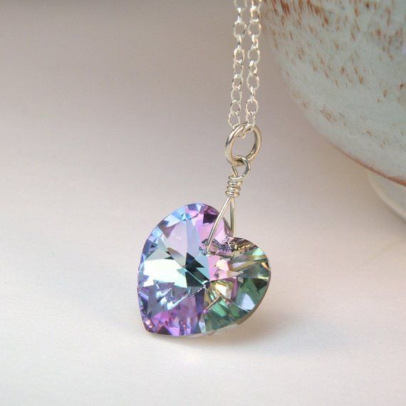 73e500fe2 Lavender Heart Necklace, Purple Pendant, Violet Swarovski Crystal, Sterling  Silver, Wedding Handmade