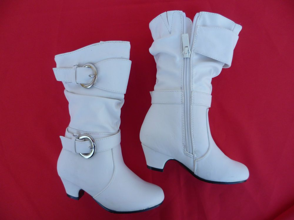 NEW WHITE BOOTS SHOES YOUTH KIDS GIRLS