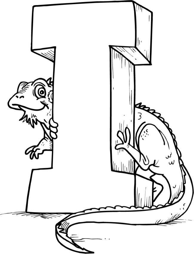 i alphabet for iguana coloring pages kindergarten pinterest