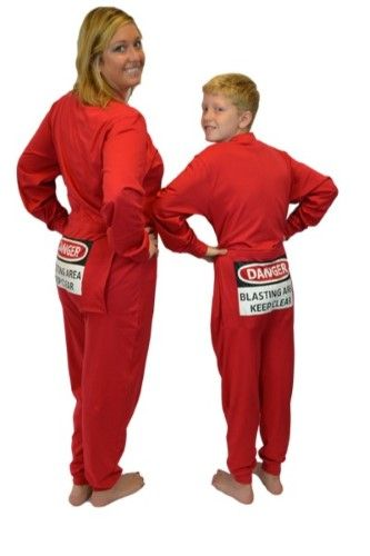 Red Union Suit Onesie Pajamas with Funny Butt Flap  danger Blasting Area  9d8ad3f1d