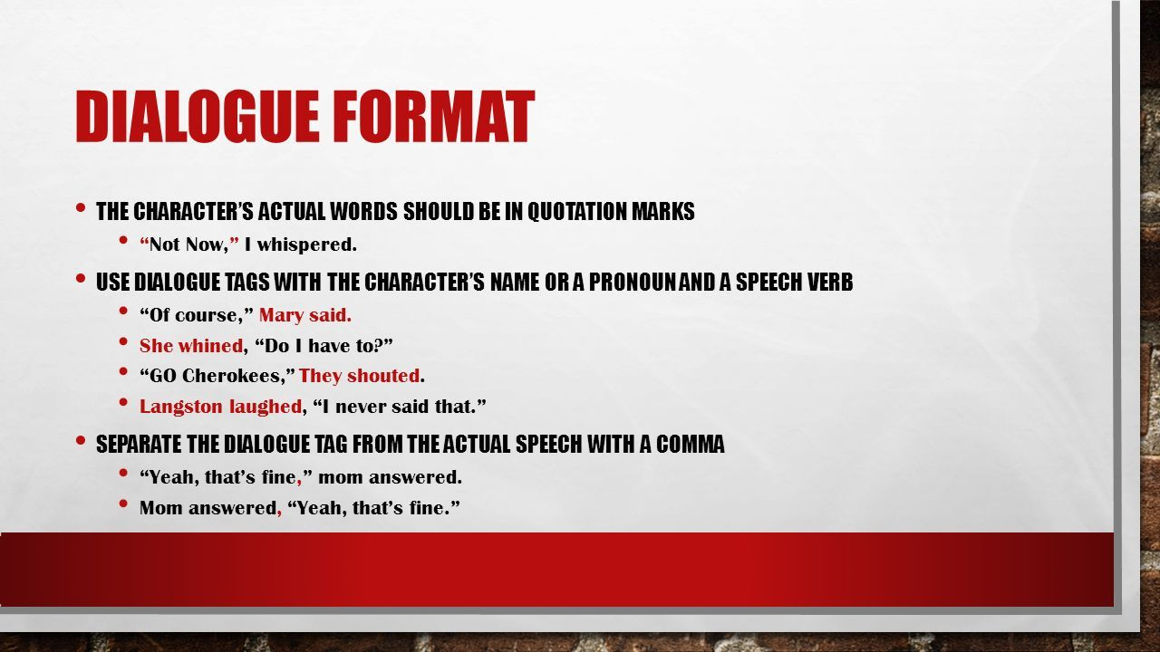Writing Tips for Fiction Writers Dialogue Format