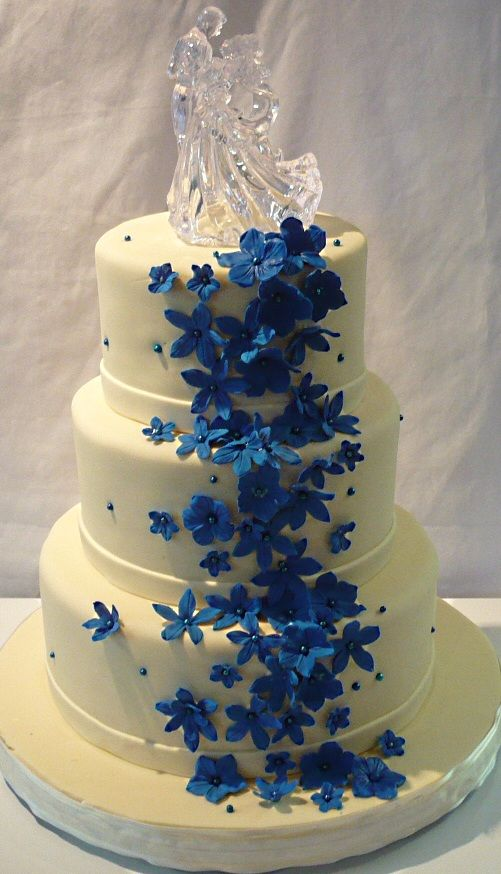 Weddings Ivory And Royal Blue Wedding Cake Dont Like The Topper But Cute Design Otherwise
