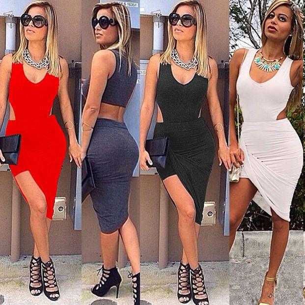 women lady sexy 2 piece midriff crop top skirt midi celeb bodycon Short dress #Unbranded #EmpireWaist #Clubwear