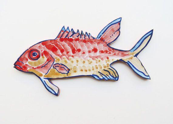 Orange Ceramic Wall Art Tropical Fish Fish Wall Decor Fish Art