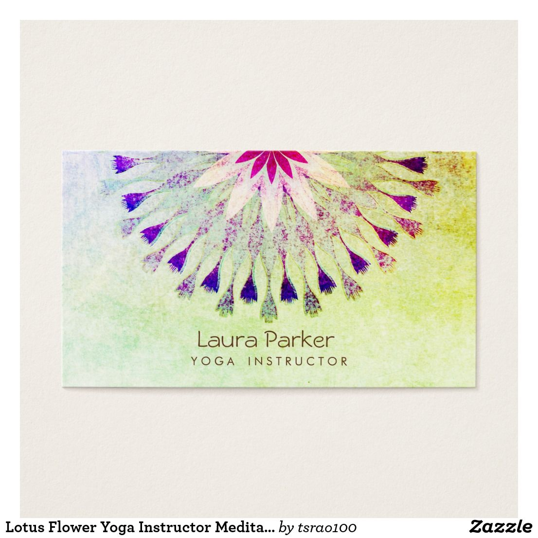 Lotus Flower Yoga Instructor Meditation Holistic Business Card ...