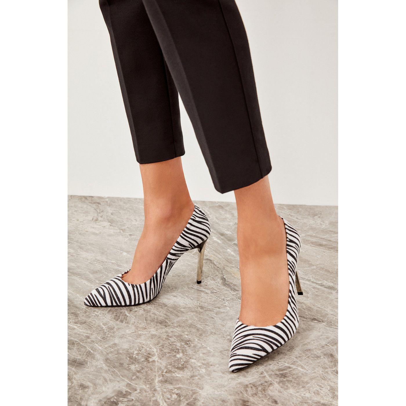 info for e5606 821ef Trendyol Black Colt Hair Zebra-Women's Wedge-Heeled Shoes in ...
