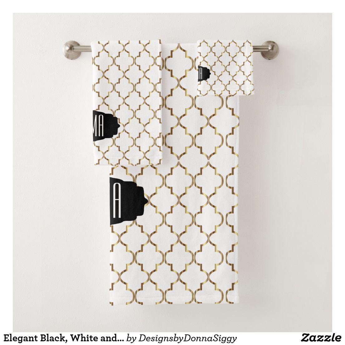 Elegant Black White And Gold Quatrefoil Patterns Bath Towel Set