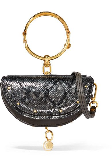 6d61d0bf144 Chloé | Nile Bracelet mini snake-effect leather shoulder bag |  NET-A-PORTER.COM