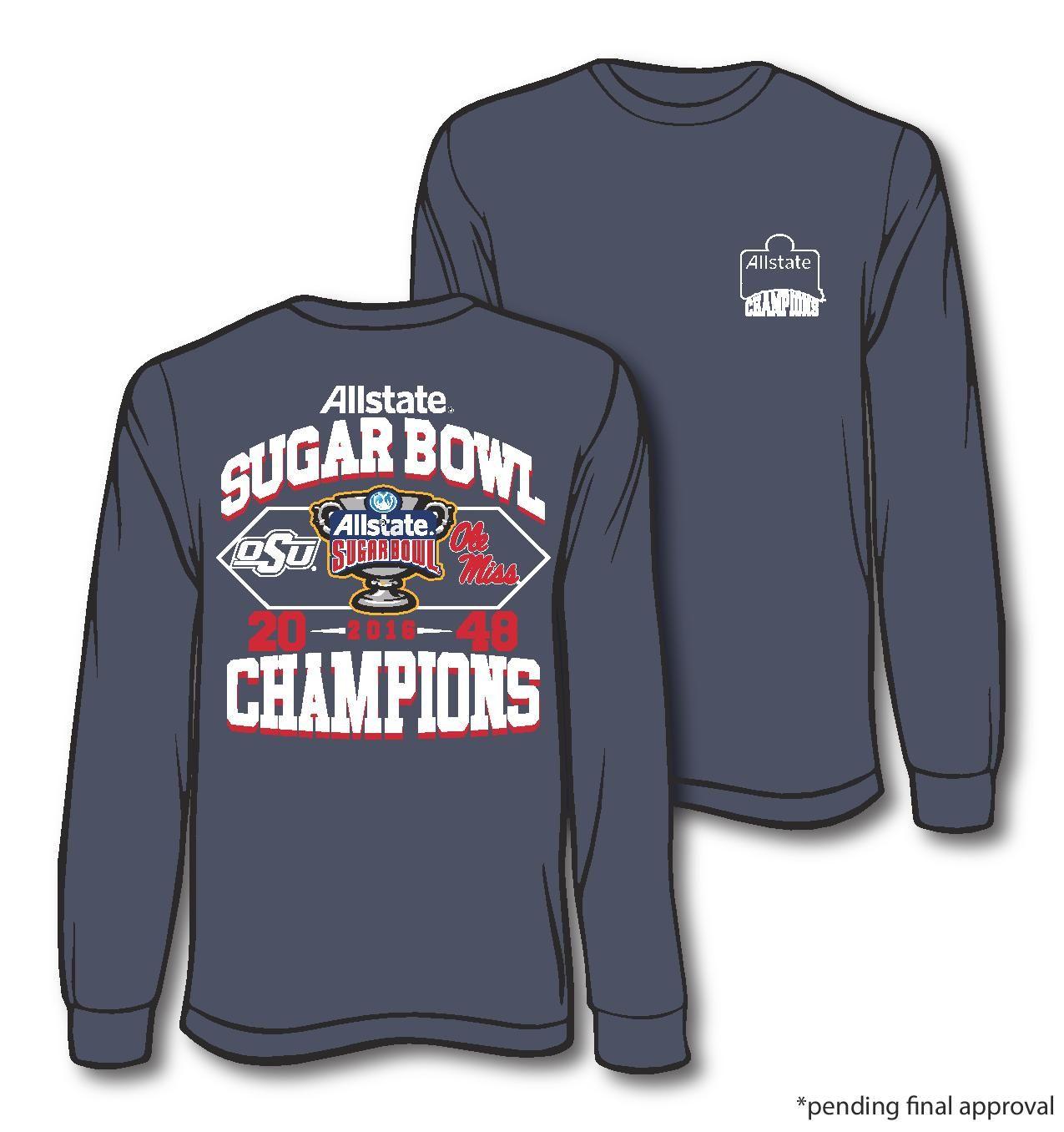 Ole Miss Sugar Bowl Champions Comfort Color Denim Long Sleeve 28 95 And Short Sleeve 26 95 Ole Miss Apparel Ole Miss Graphic Sweatshirt