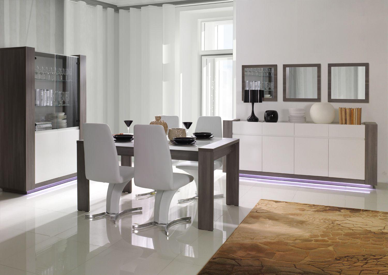 Salle à manger complète moderne Armand blanc laqué, gris ...