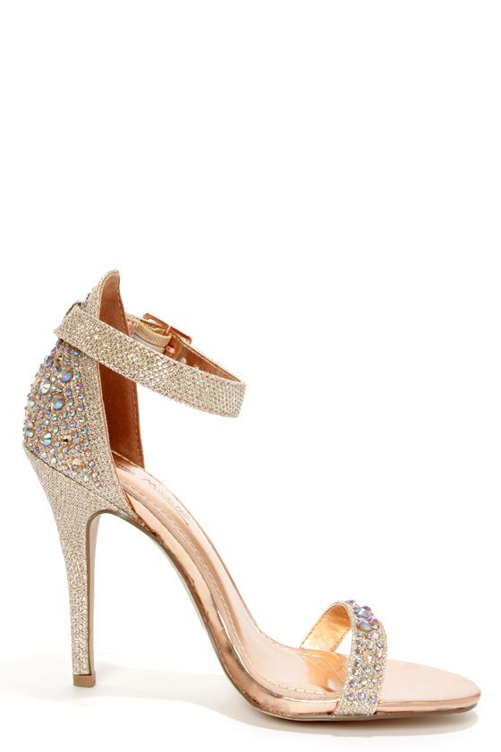 063a69d382394 Anne Michelle Enzo 78 Rose Gold Rhinestone Ankle Strap Heels at LuLus.com!