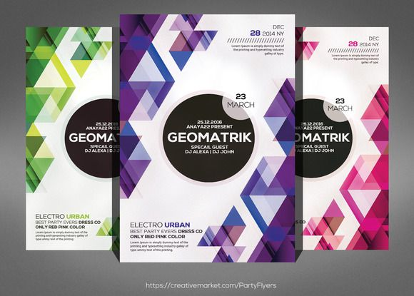 Minimal Geometric Flyer Psd Template By Party Flyers On
