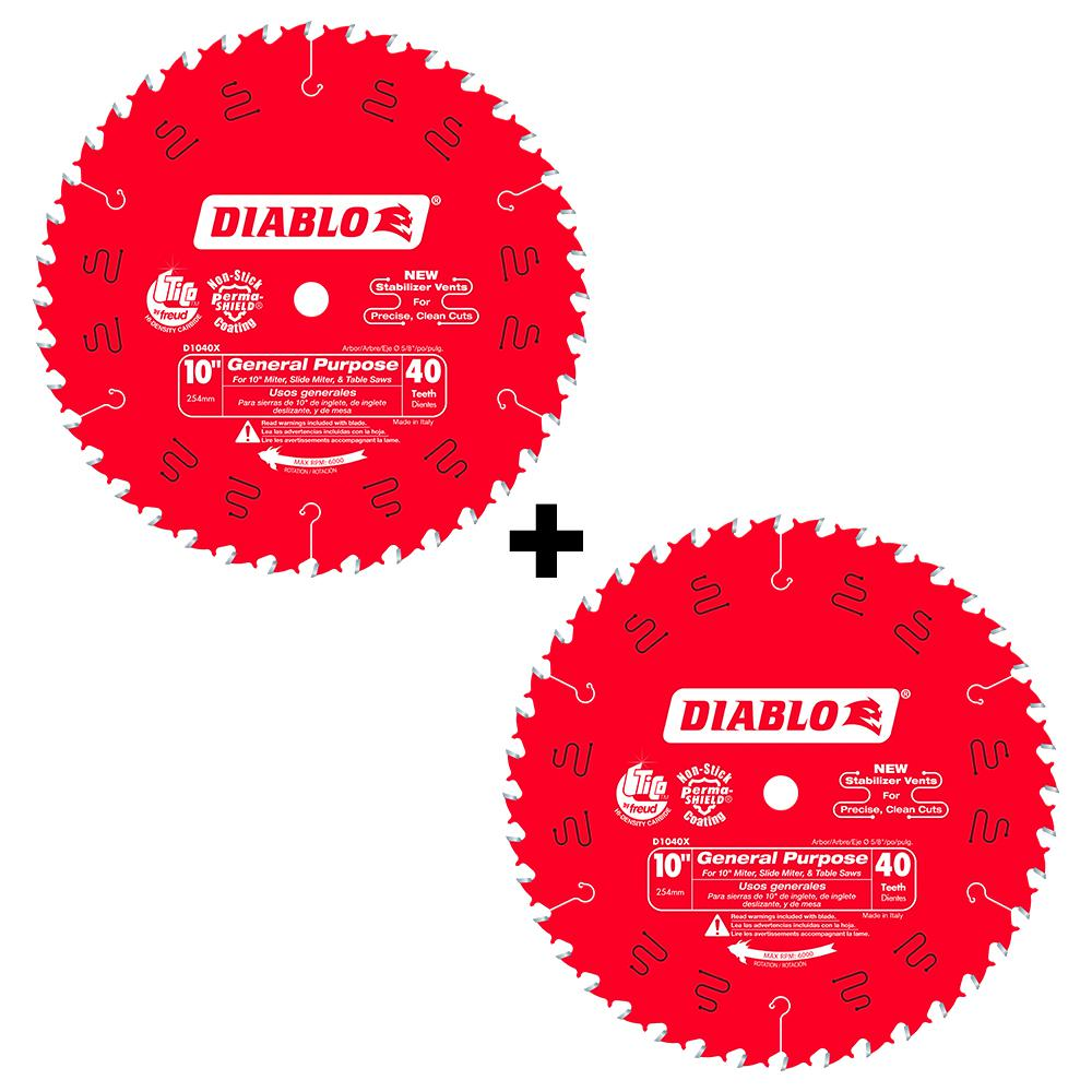 Diablo 10 In X 40 Tooth General Purpose Saw Blade 2 Pack D104040vp The Home Depot In 2020 Circular Saw Blades Saw Blade Circular Saw