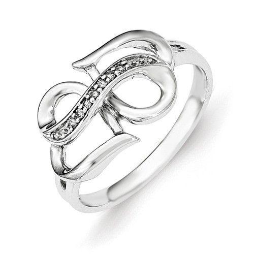 Sterling Silver Genuine Diamond Infinity Symbol Heart Ring