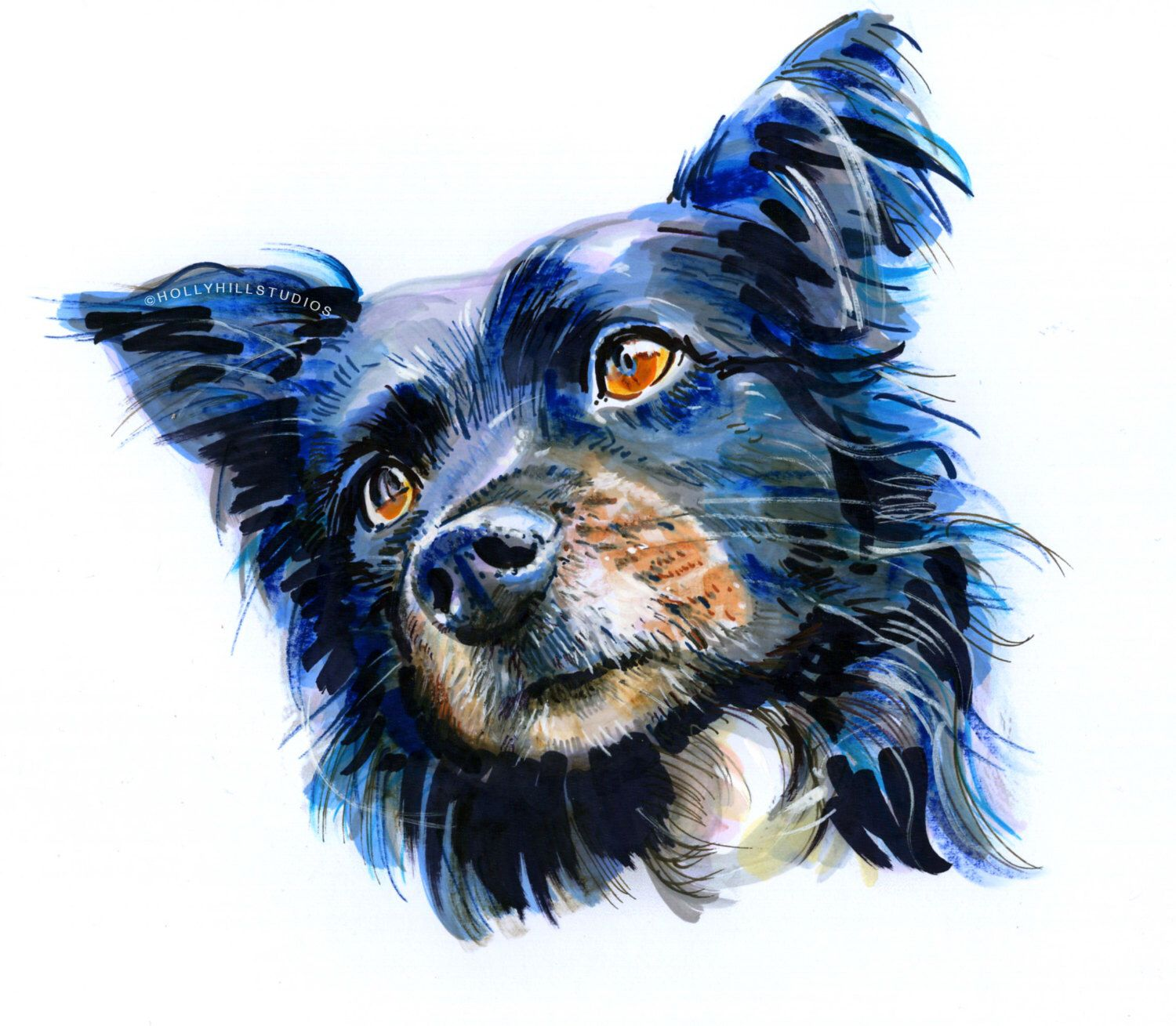 Custom Head Shot Pet Portrait Custom Pet Memorial Painting Dog