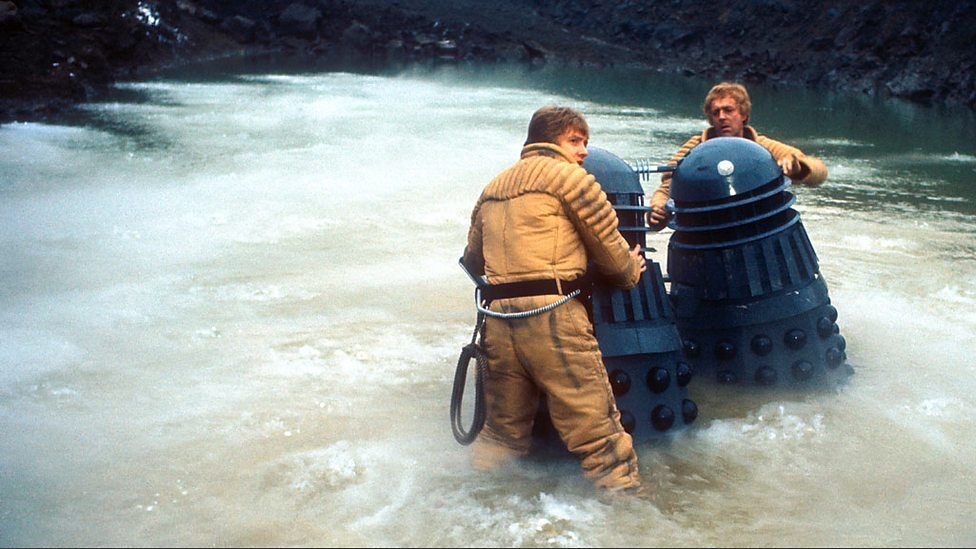Planet of the Daleks - The hunted have become the hunters: Latep and Taron with their Dalek victims!