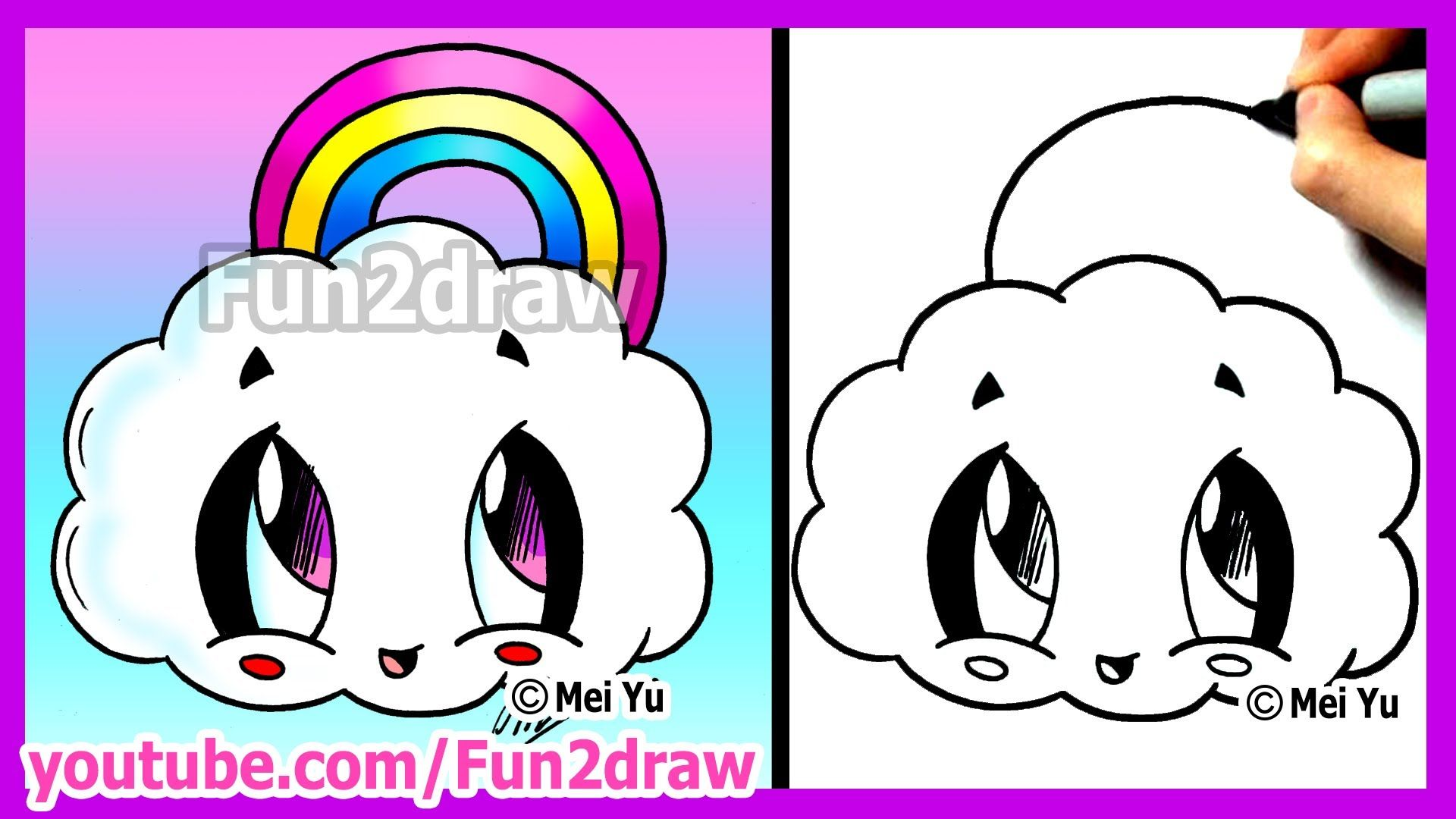How to draw cartoons rainbow cloud fun2draw cute easy for Thing to draw