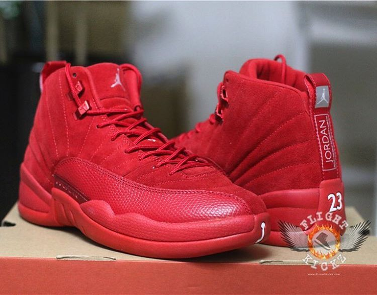 Air Jordan 12 Sac En Daim Rouge