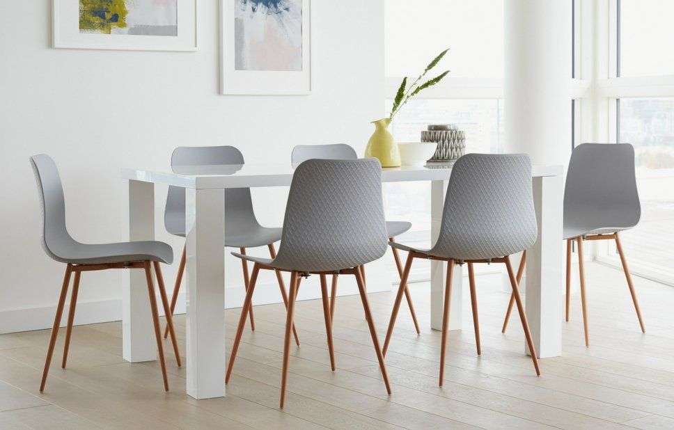 FANBYN oak, white, Table and 6 chairs