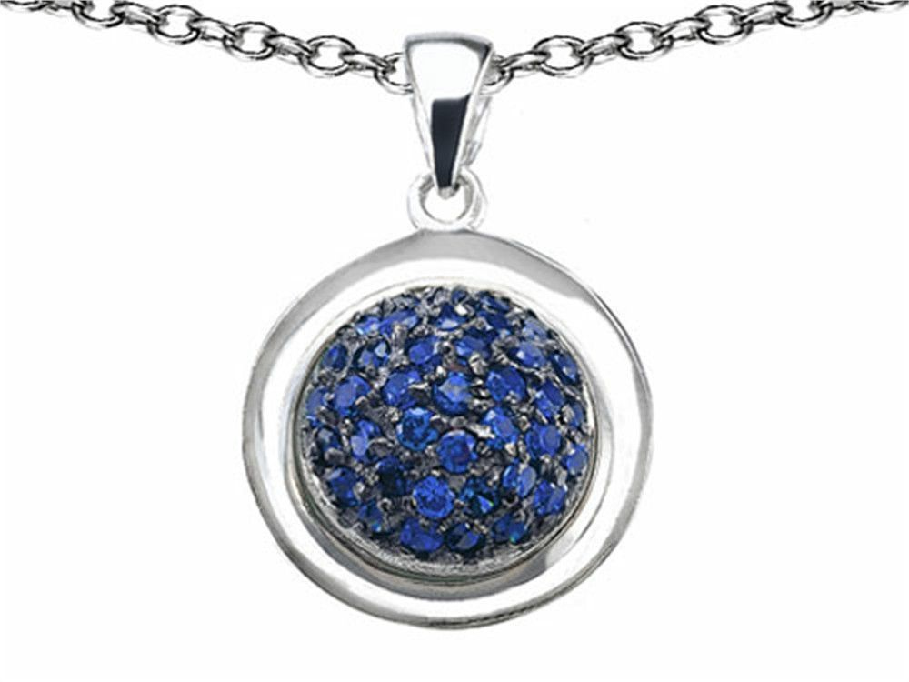 Star K Round Puffed Pendant Necklace with Created Sapphire