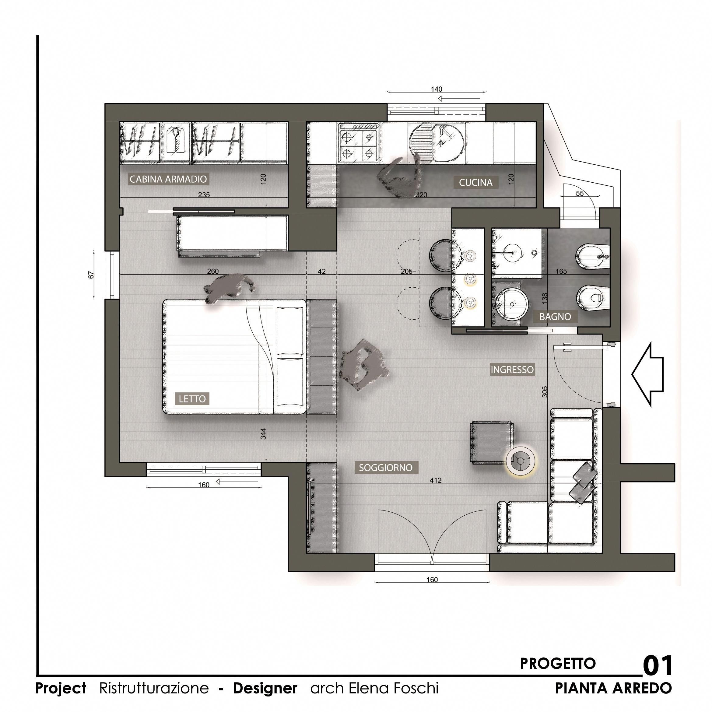 Monolocale Open Space Casemoderne Architectural Floor Plans Hotel Floor Plan Tiny House Floor Plans