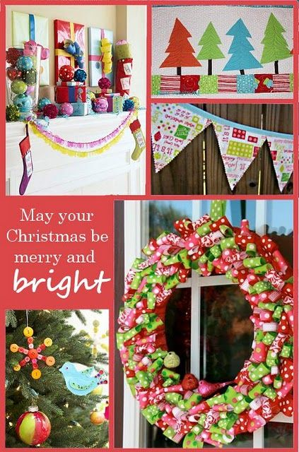 love the ribbon wreath, christmas tree quilt and bunting