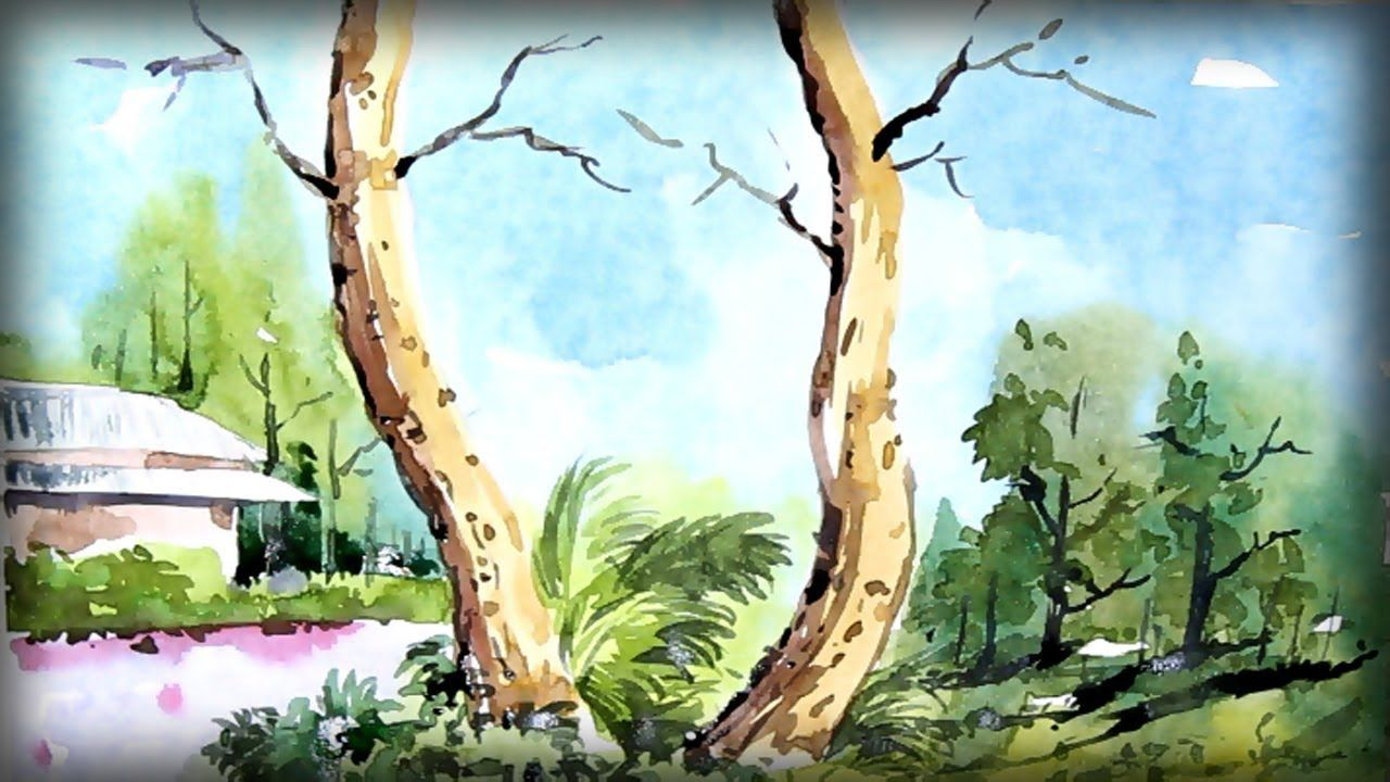 Watercolor Landscape Painting Scenery Drawing Of Nature