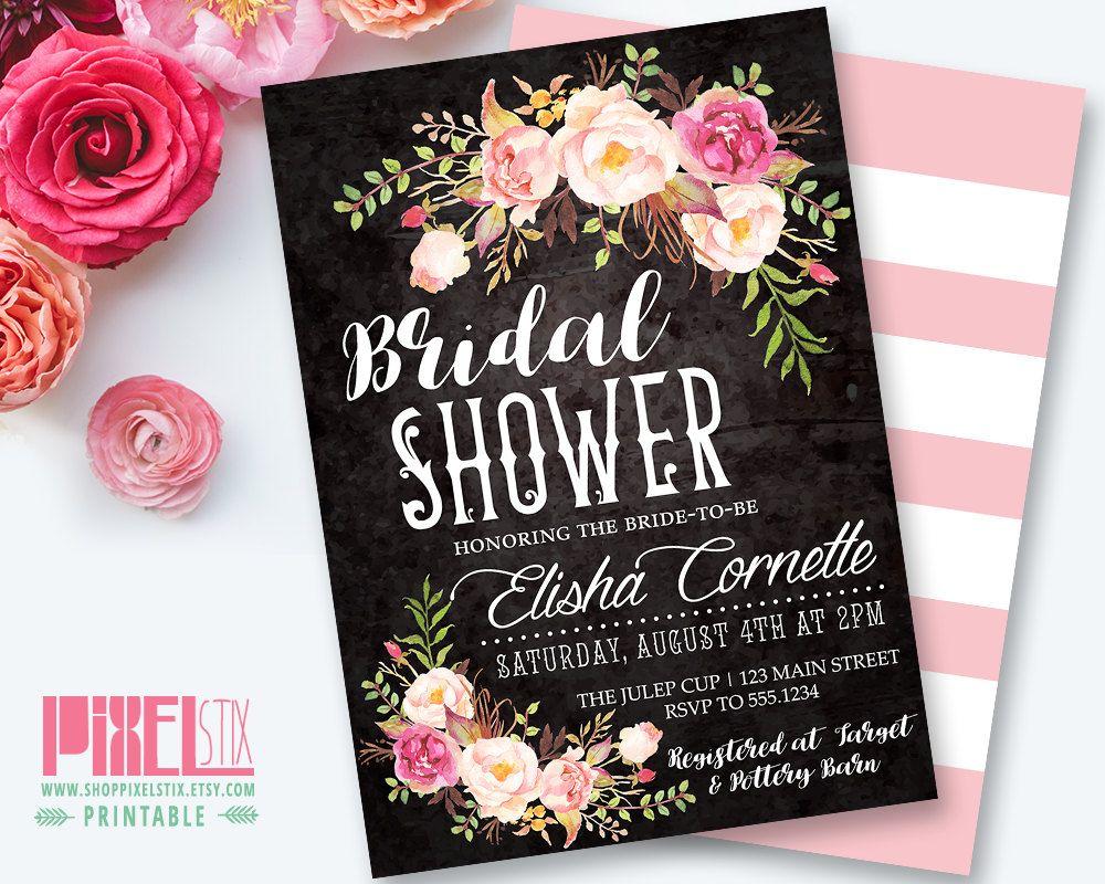 Vintage Floral Bridal Shower Invitation Peony and