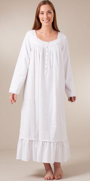 Sale - Eileen West Cotton Flannel Nightgown Ballet - Fairytale White ... 3ebbb62f6