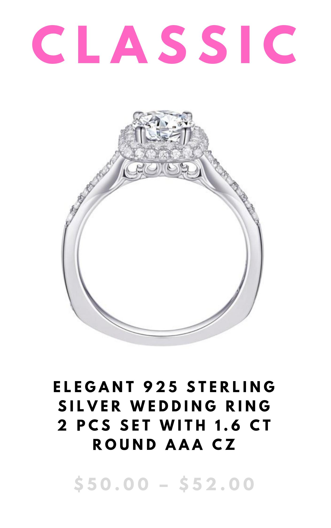 Elegant 925 Sterling Silver Wedding Ring 2 Pcs Set With 1 6 Ct Round Aaa Cz Qooru Sterling Silver Wedding Rings Silver Wedding Rings Wedding Rings