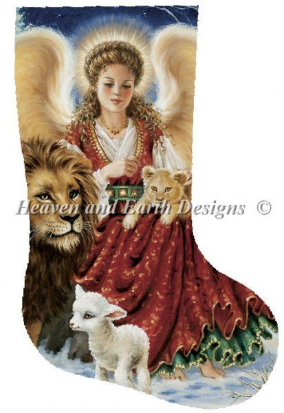 Chart Counted Cross Stitch Pattern Needlework DIY DMC The Lion and the Lamb