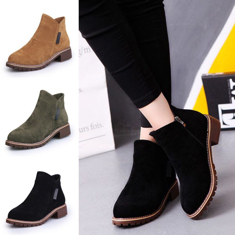 Womens Casual Flat Ankle Boots Ladies Faux Suede Low Heel Slip On Winter Shoes