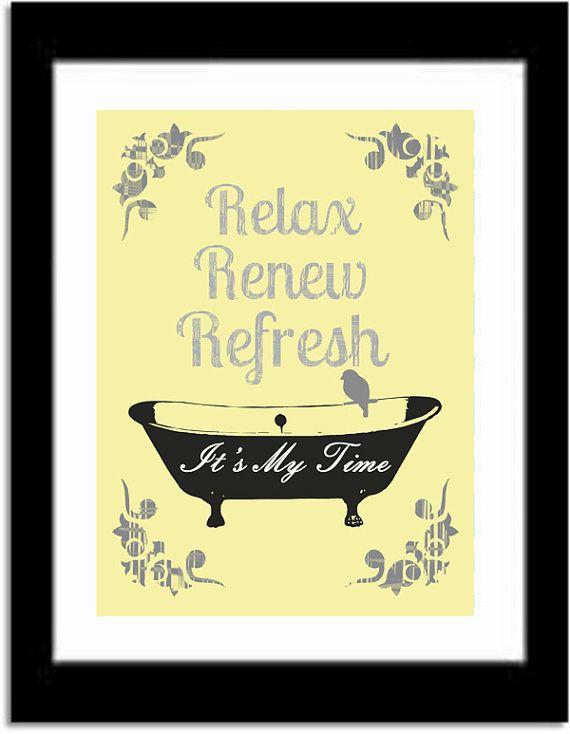 Yellow and Gray Bathroom Art Print, Bathtub, Birds, Relax, Renew ...
