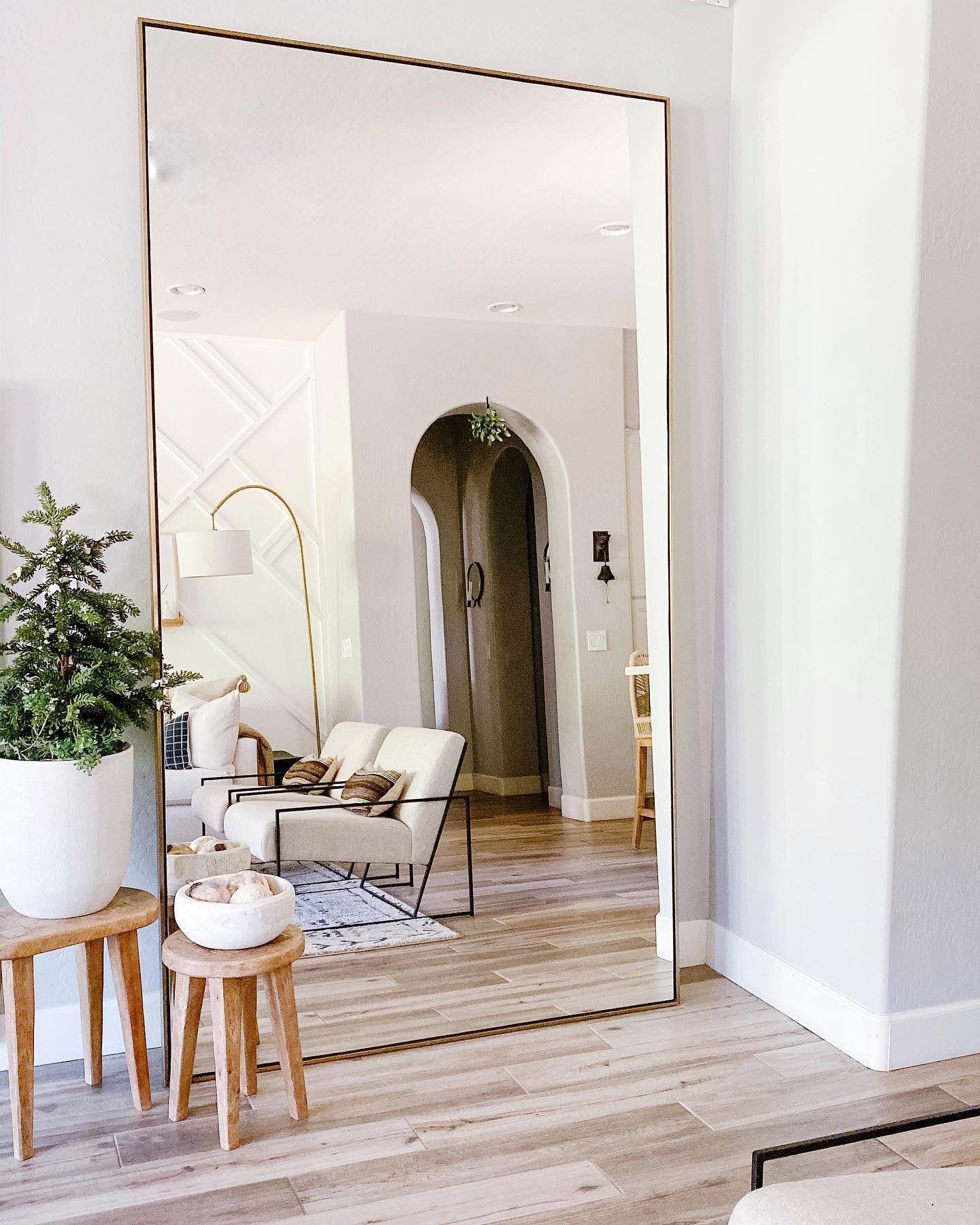 Linnea Floor Mirror In Brass Arhaus Big Mirror In Bedroom Home