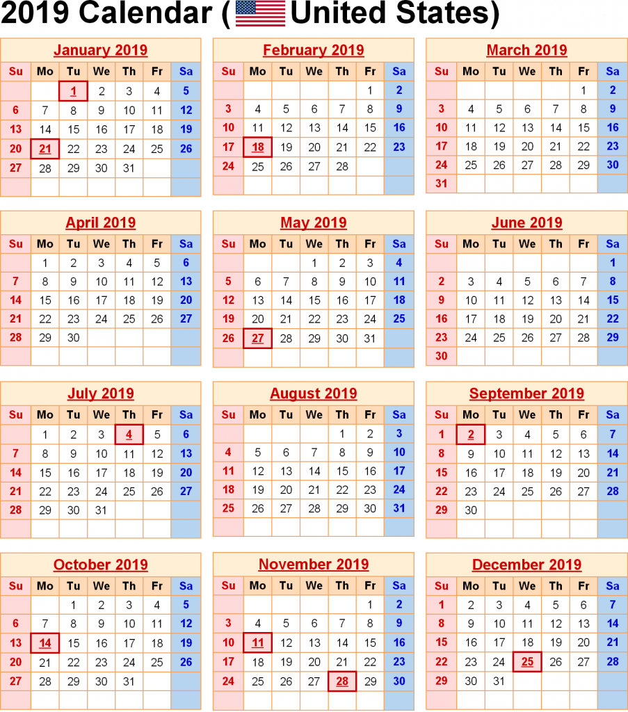 US Holidays 2019 Holiday calendar, National day calendar