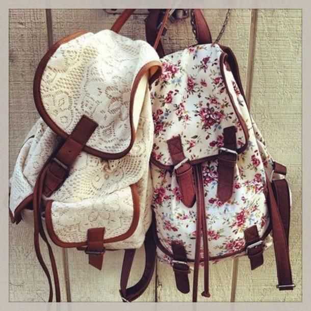 Pretty floral print and lace backpack / purse with leather straps ...