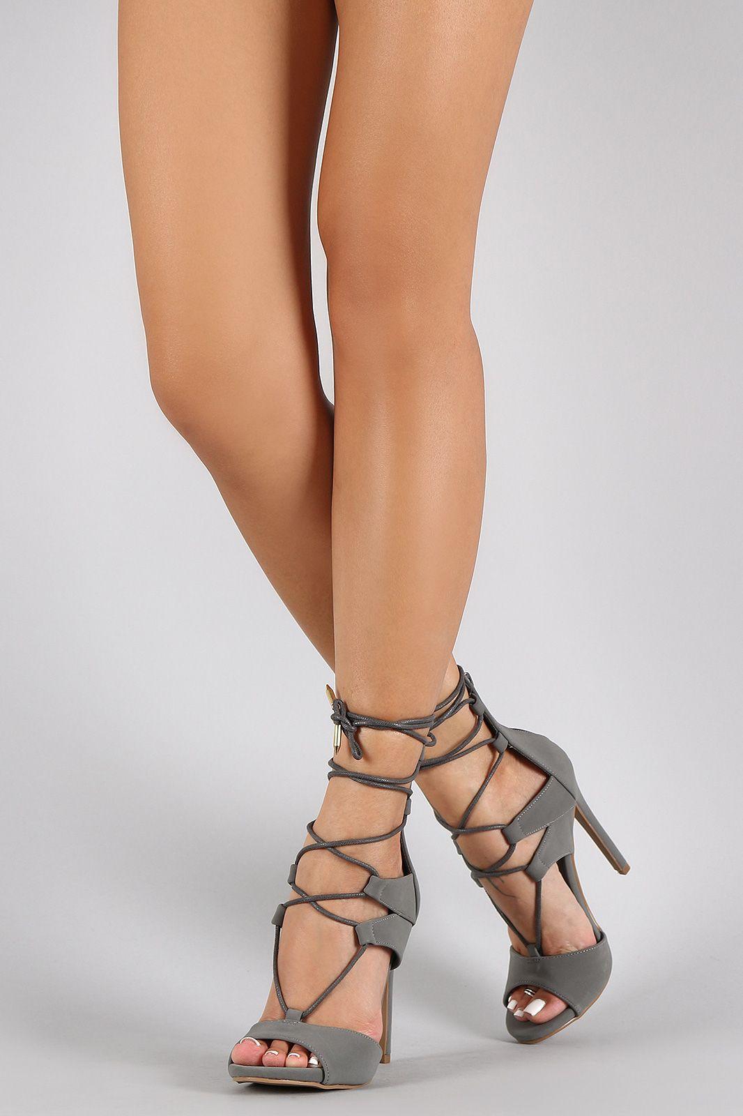 1617558c24 Shoe Republic LA Corset Lace Up Peep Toe Heel