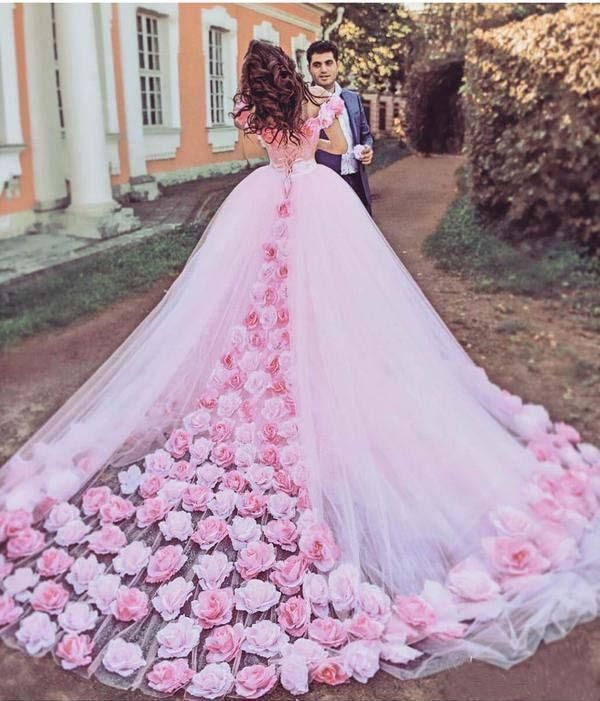 Pink Cathedral Off the Shoulder Ball Gown Vintage 3D Flower Applique Wedding Dresses JS379